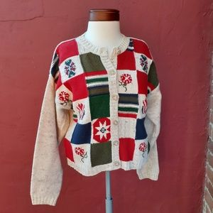 Vintage Country Embroidery Christmas Cardigan